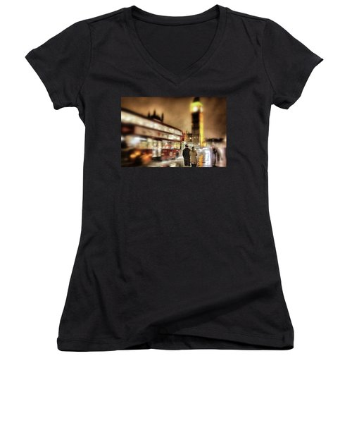 Women's V-Neck T-Shirt (Junior Cut) featuring the photograph Westminster Bridge In Rain by Jim Albritton