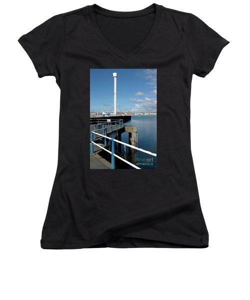 Weymouth Pavillion Pier And Tower Women's V-Neck T-Shirt (Junior Cut) by Baggieoldboy