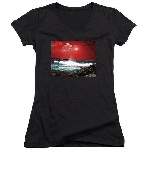 Whaleback At Peaks Island Maine Women's V-Neck (Athletic Fit)