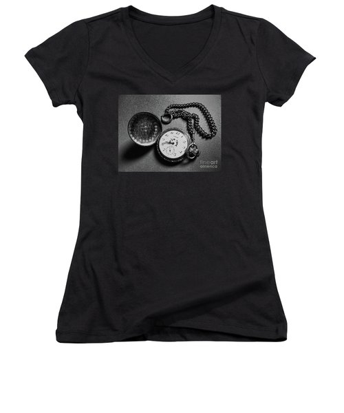What Is The Time? Women's V-Neck T-Shirt (Junior Cut) by Jasna Dragun