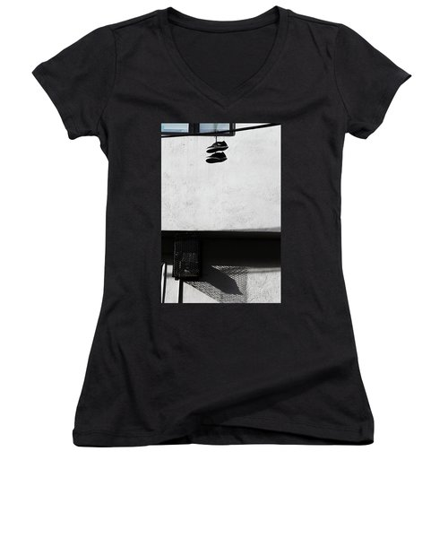 Women's V-Neck T-Shirt (Junior Cut) featuring the photograph What That For Me  by Empty Wall