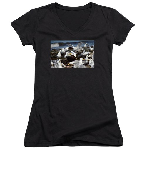 What The Tide Brings In The Birds Feed On Women's V-Neck T-Shirt (Junior Cut) by Dacia Doroff