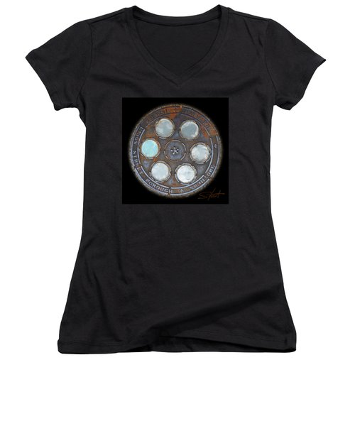 Wheel 2 Women's V-Neck T-Shirt (Junior Cut) by Charles Stuart