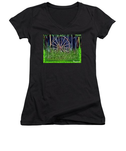 Wheel Of Fortune Women's V-Neck T-Shirt (Junior Cut) by EricaMaxine  Price