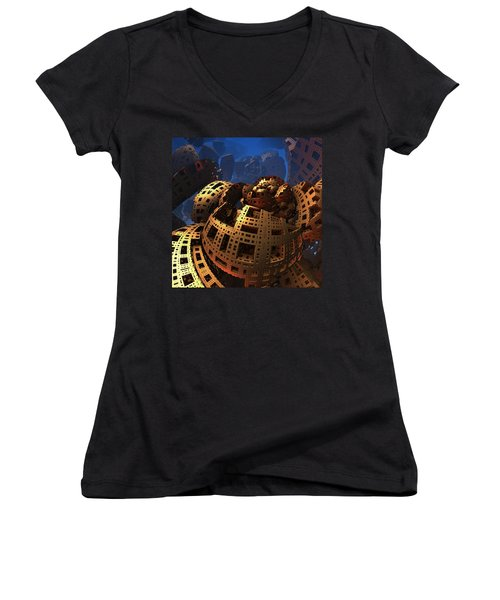Women's V-Neck T-Shirt (Junior Cut) featuring the digital art When Black Friday Comes by Lyle Hatch