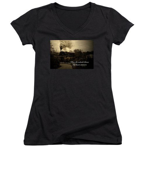 When The Whistle Blows Women's V-Neck T-Shirt