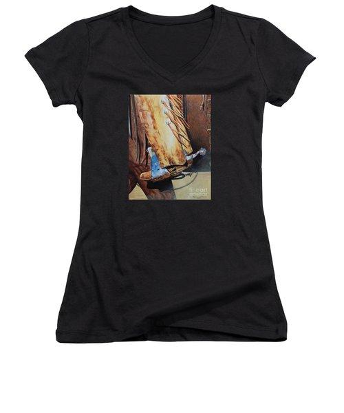 When Work Is Play Women's V-Neck T-Shirt (Junior Cut) by Ruanna Sion Shadd a'Dann'l Yoder