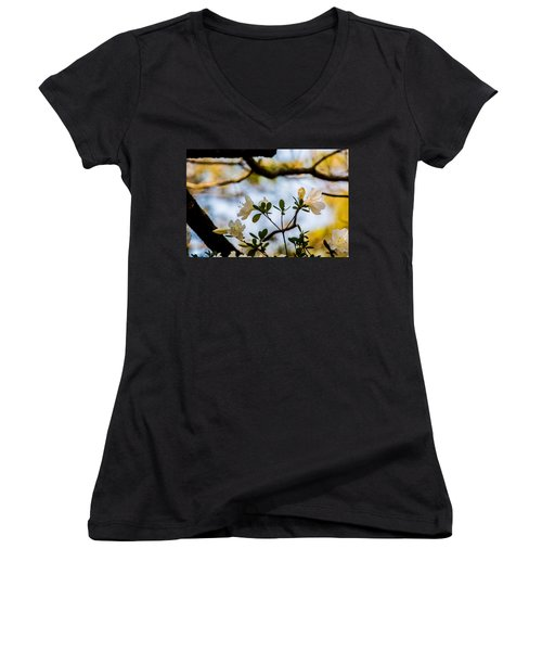 Women's V-Neck T-Shirt (Junior Cut) featuring the photograph Whie Azaleas Under A Dogwood Tree by John Harding