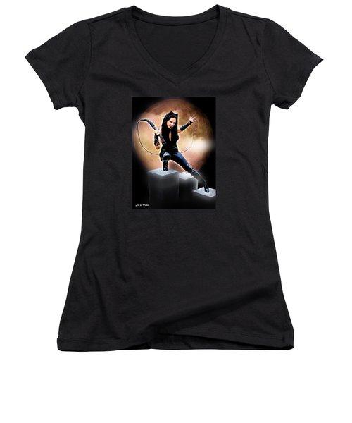 Whip Of The Feline Fatale Women's V-Neck T-Shirt (Junior Cut)