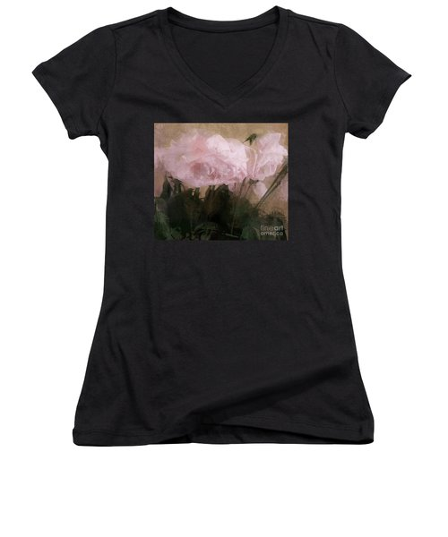Whisper Of Pink Peonies Women's V-Neck T-Shirt (Junior Cut) by Alexis Rotella