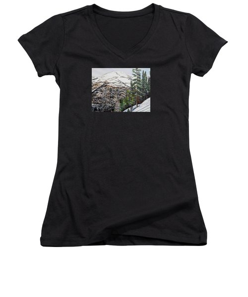 Women's V-Neck T-Shirt (Junior Cut) featuring the painting Whispering Pines by Marilyn  McNish