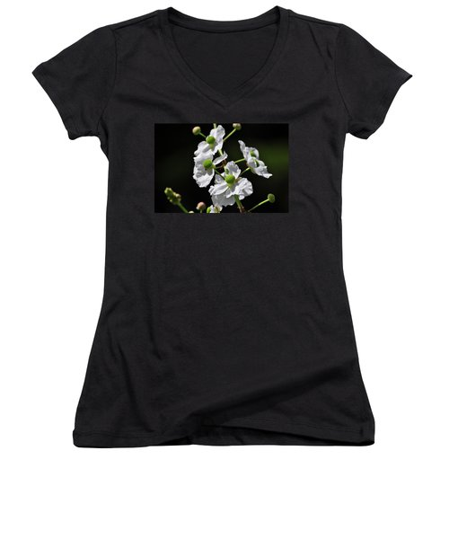 White And Green Wildflowers Women's V-Neck T-Shirt
