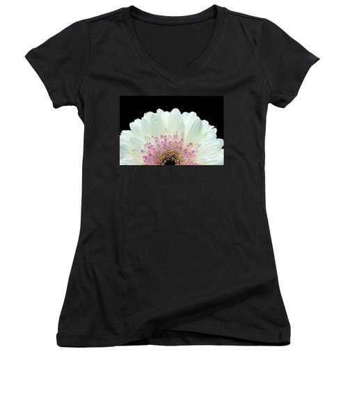 White And Pink Daisy Women's V-Neck T-Shirt