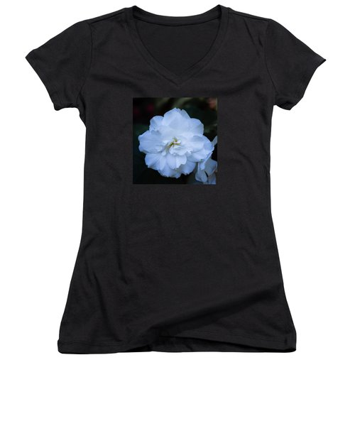 White As Snow Begonia Women's V-Neck (Athletic Fit)