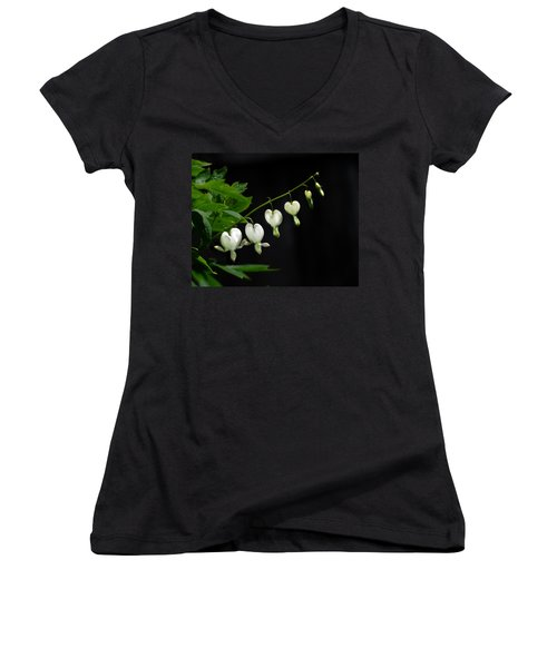 Women's V-Neck T-Shirt (Junior Cut) featuring the photograph White Bleeding Hearts by Susan Capuano