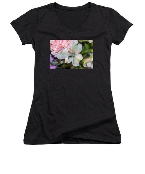 White Flower Women's V-Neck T-Shirt (Junior Cut) by Nance Larson