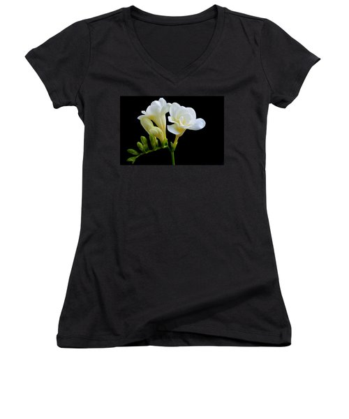 White Freesia Women's V-Neck (Athletic Fit)