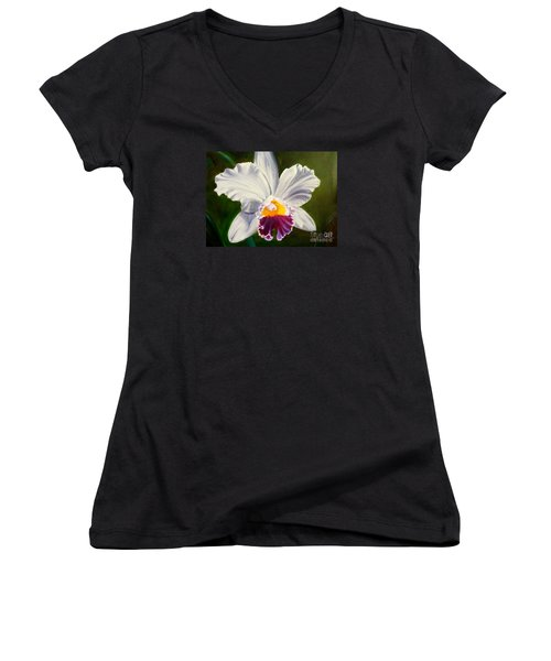 Women's V-Neck T-Shirt (Junior Cut) featuring the painting White Orchid by Jenny Lee