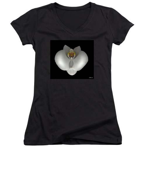 White Orchid On Black Women's V-Neck T-Shirt (Junior Cut) by Heather Kirk