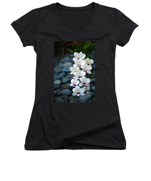 Women's V-Neck T-Shirt (Junior Cut) featuring the photograph White Orchids by Debbie Karnes