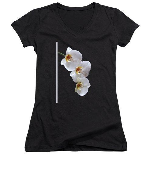 White Orchids On Black Vertical Women's V-Neck T-Shirt (Junior Cut) by Gill Billington