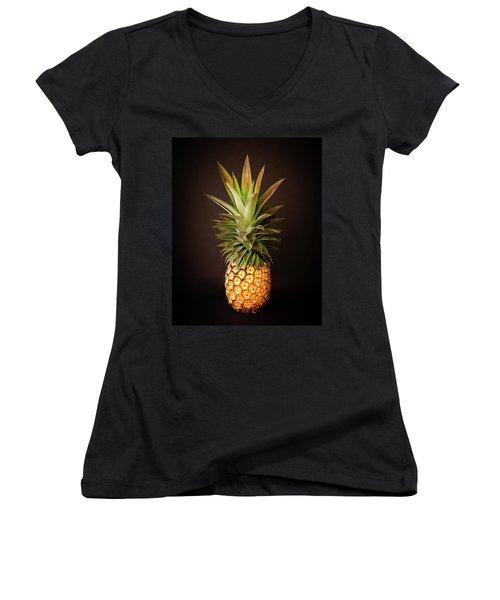 White Pineapple King Women's V-Neck
