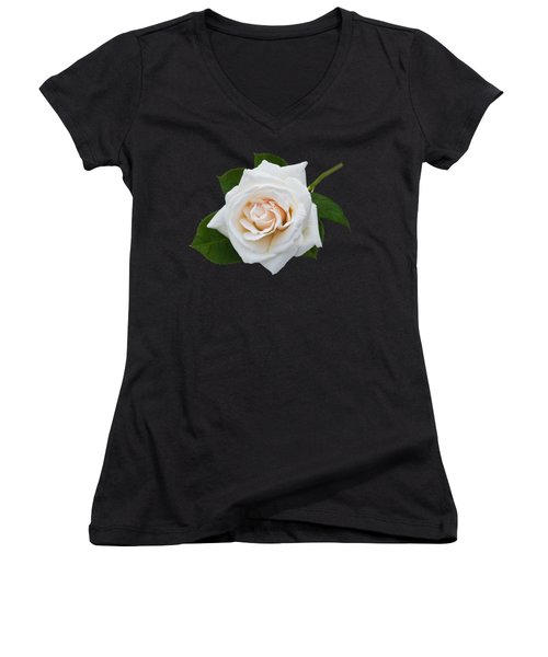 Women's V-Neck T-Shirt (Junior Cut) featuring the photograph White Rose by Jane McIlroy