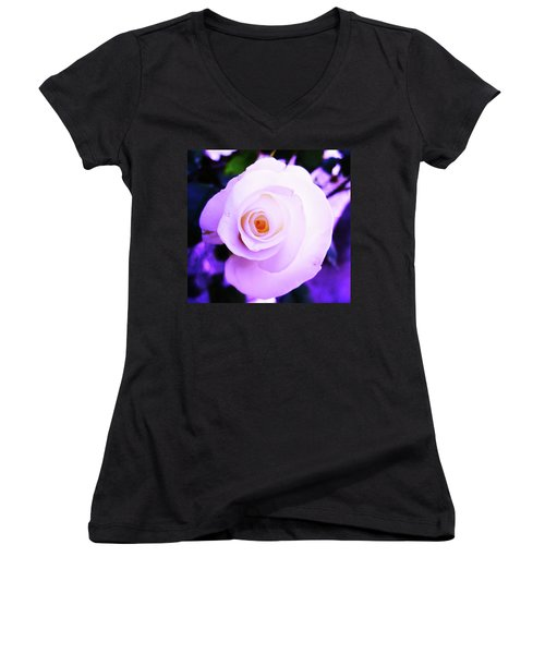 Women's V-Neck T-Shirt (Junior Cut) featuring the photograph White Rose by Mary Ellen Frazee