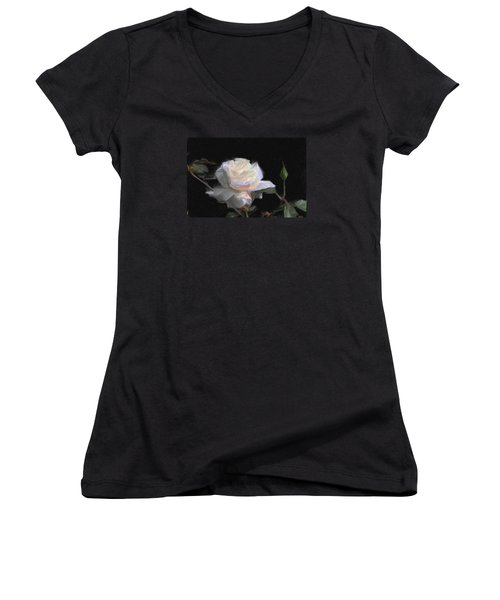 White Rose Painting Women's V-Neck T-Shirt (Junior Cut) by Don  Wright