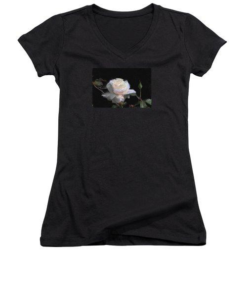 White Rose Painting Women's V-Neck T-Shirt