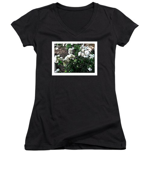 Women's V-Neck T-Shirt (Junior Cut) featuring the photograph White Roses by Joan  Minchak