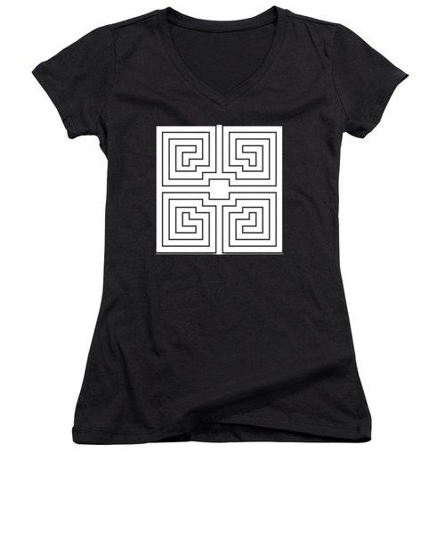 White Transparent Design Women's V-Neck T-Shirt (Junior Cut) by Chuck Staley
