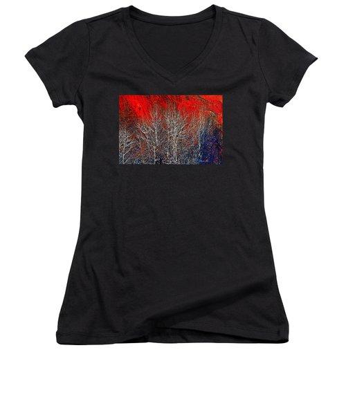 White Trees Women's V-Neck T-Shirt (Junior Cut)
