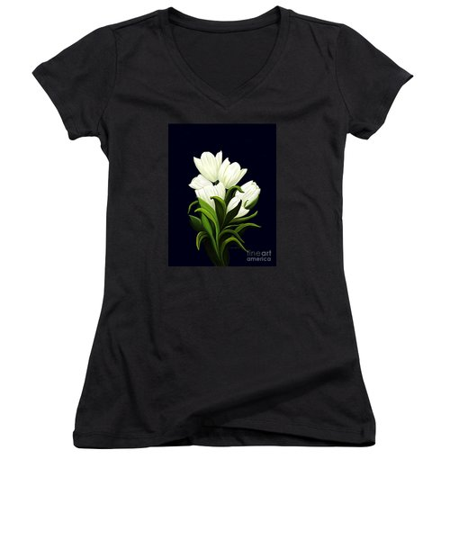Women's V-Neck T-Shirt (Junior Cut) featuring the painting White Tulips by Patricia Griffin Brett