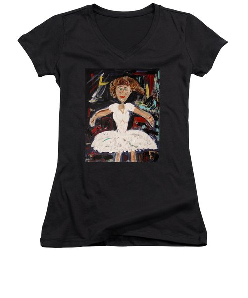 White Tutu Women's V-Neck T-Shirt (Junior Cut) by Mary Carol Williams