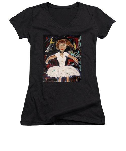 White Tutu Women's V-Neck T-Shirt