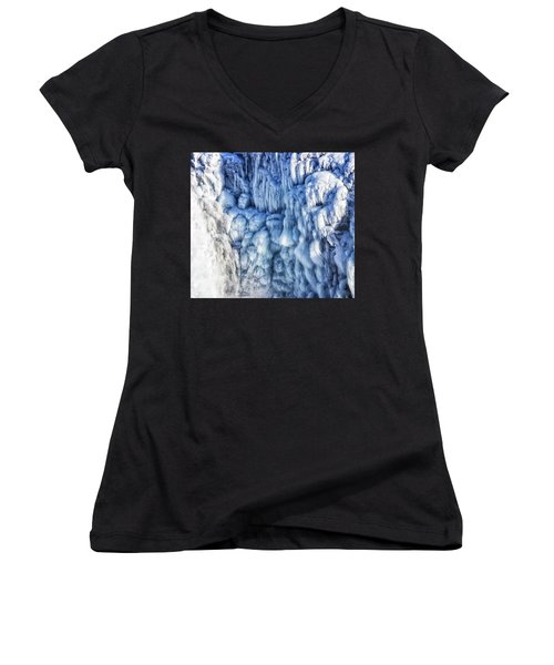 Women's V-Neck T-Shirt (Junior Cut) featuring the photograph White Water And Blue Ice Gullfoss Waterfall Iceland by Matthias Hauser