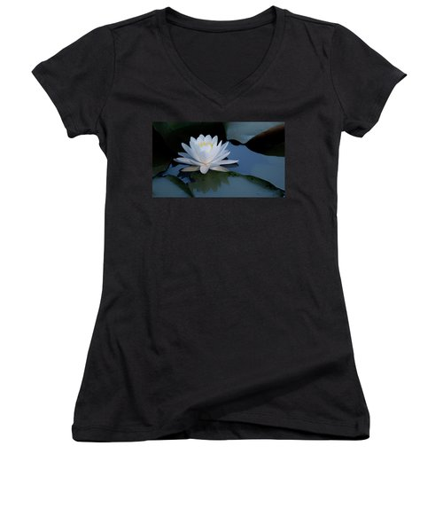 White Water Lily Women's V-Neck (Athletic Fit)