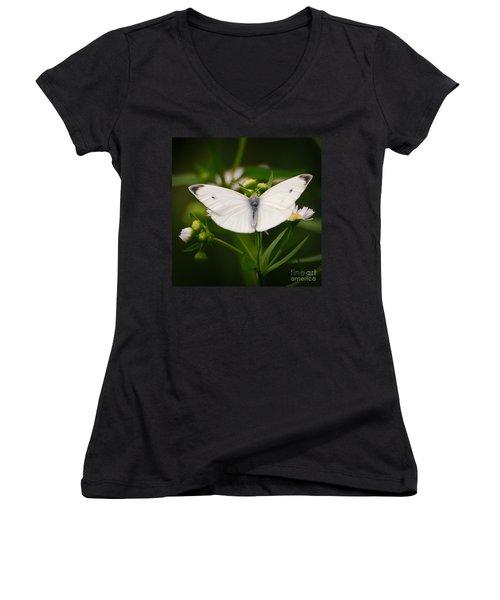 White Wings Of Wonder Women's V-Neck T-Shirt (Junior Cut) by Kerri Farley