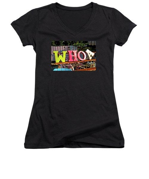 Whoa Women's V-Neck T-Shirt (Junior Cut) by Toni Hopper