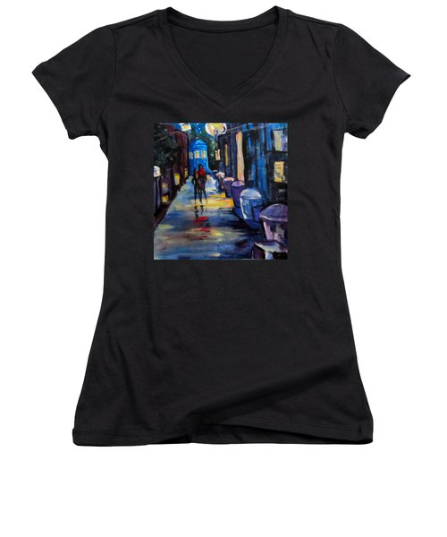 Who's Heading Back Women's V-Neck T-Shirt (Junior Cut) by Barbara O'Toole