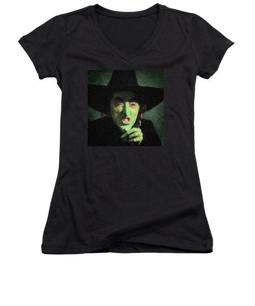 Wicked Witch Of The East Women's V-Neck T-Shirt (Junior Cut) by Taylan Apukovska