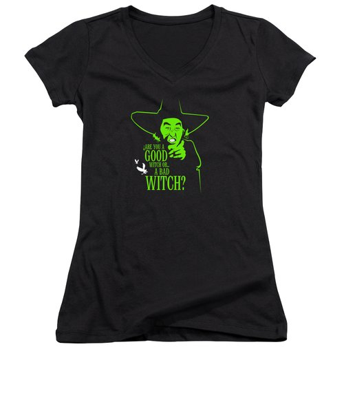 Wicked Witch Of West Women's V-Neck T-Shirt (Junior Cut) by Mos Graphix