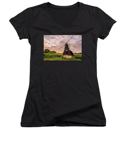 Wicken Wind-pump At Sunset II Women's V-Neck