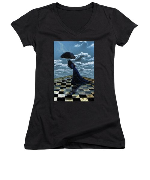 Widow In The Rain Women's V-Neck (Athletic Fit)