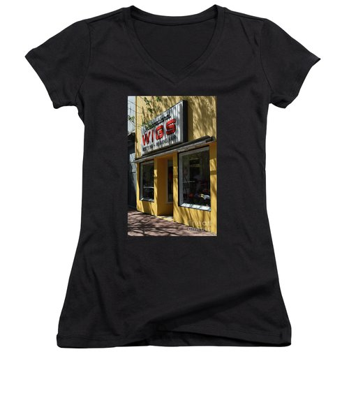 Women's V-Neck T-Shirt (Junior Cut) featuring the photograph Wigs by Skip Willits