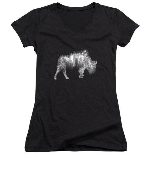 Wild Bison Women's V-Neck T-Shirt (Junior Cut) by Diana Van