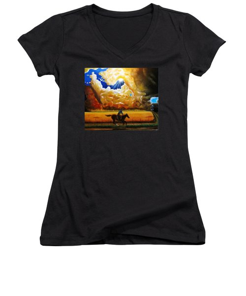 Women's V-Neck T-Shirt (Junior Cut) featuring the painting Wild Fire  by Gene Gregory