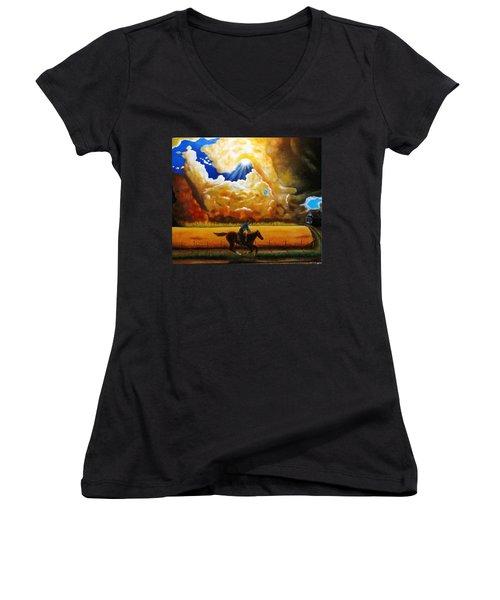 Wild Fire  Women's V-Neck T-Shirt (Junior Cut) by Gene Gregory