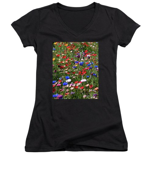 Wild Flower Meadow 2 Women's V-Neck (Athletic Fit)
